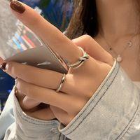 S925 순수 실버 ins 패션 미니멀리스트 링 여성의 성격 크리 에이 티브 매듭 교차 검지 손가락 입