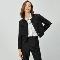 Women's Jackets Jacket Women Small Fragrant Wind Short Sweet Elegant Bright Silk Buttons Pocket Autumn Clothes Exquisite Ladies Tops Coat