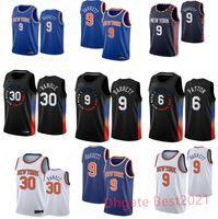 RJ 9 Barrett Patrick 33 Ewing Julius 30 Randle Derrick 4 Rose Mens Basketball Jerseys Blanco Azul Todo Costado