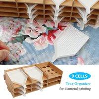 다이아몬드 페인팅 도구 저장 트레이 단단한 나무 멀티 레이어 자수 구슬 장식 드릴 펜 주최자 상자 바느질 노발 도구