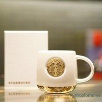 Starbucks pearl white Mermaid Bronze Medal Mug Classic relief ceramic coffee cup 414ml Tabletop cup gift box