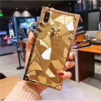 New square Tyrant gold 2020 fashion luxury Gold case For iPhone 7 8 Plus XS XR XS MAX 11 12Pro 12Pro Max Hard Coque bling case gold