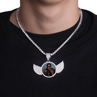 TOPGRILLZ Gold Custom Made Photo With wings Medallions Necklace & Pendant 4mm Tennis Chain Cubic Zircon Mens Hip hop Jewelry