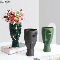 Creativity Abstract Figure Vase Modern Decor Character Flower Arrangement Ceramic Vases Crafts Sculpture Living Room Decoration Decorative O