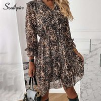 SouthPire Bayan Giyim Leopar Baskı Vintage Elbise Ön Düğme Şifon Gömlek Elbise Basit Günlük Vestidos Kadın 2021