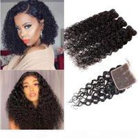 brazilian virgin hair 3 bundles with Free Part closures Wat and Wavy Human Hair Waft Water Wave Curly Peruvian Hair Bundles with 4x4 Closure