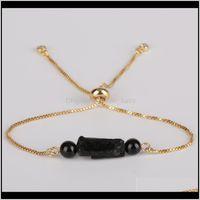 Strands Bracelets Jewelry5Pcs Lot Natural Rough Black Tourmaline Mineral Calming Healing Stone & Smooth Onyx Bead Link Adjustable Bracelet Un