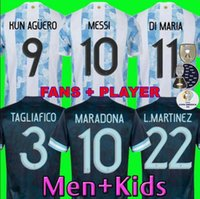 Fanlar Oyuncu Sürümü Arjantin Maradona Messi Futbol Formaları 2021 22 Eve Dight Kun Agüero di Maria Lo Celso Martinez Correa Futbol Forması Gömlek Erkekler Kids Setleri Üniformalar