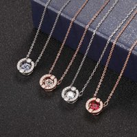 Collana Jia Beating Heart Heart Collana Versione alta Donne Gold Rose Simple Round Smart Crystal Chain Catena Chain