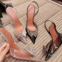 2021 Transparent Diamond Bow High Heel Sleep Cap Toe Tacchi Fine Suggerimento con le scarpe da single da donna sexy vuote scarpe estive cristallo fata vento