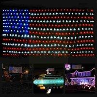 Cuerdas bandera americana 420 leds luces de cadena ornamentos colgantes de hadas netas de navidad jardín al aire libre impermeable decorati m1g4