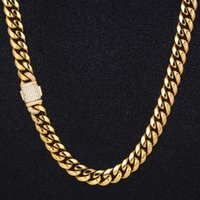 DNSCHIC 12mm Cuban Necklace Stainless Steel Miami Cuban Chain Link for Men Women Street Fashion Hip Hop Jewelry Link Rapper 210426