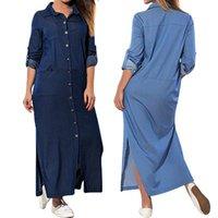 캐주얼 드레스 여성 데님 블루 벨트 버튼 분할 유행 한국 여성 간단한 패션 드레스 Janpan 선 긴 Maxi 2021