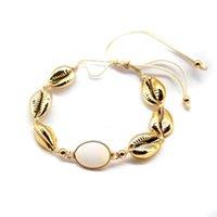 Collar de concha de la aleación de la joyería bohemia y el collar de la cáscara de piedra natural combinada con la moda de oro con cuentas cortas, hebras