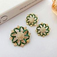 Hoop & Huggie Court French Celebrities Temperament Drop Glaze Brooch Pin 925 Silver Needle Personalized Earrings Set