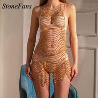 Stonefans Rhinestone suit Dance Lingerie Long Beach Wear Crystal Dress Full Sex Body Chain Hollow Out Skirt