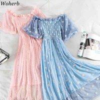 Kadınlar Tatlı Dantel Çiçek Nakış Elbise Yüksek Bel Pileli İnce Puf Kollu Örgü Elbiseler Zarif Vestidos Robe 210422