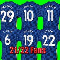# 10 Pulisic # 7 Kante Home Blue Soccer Jerseys 21/22 # 11 Werner # 19 Bergmänner Erwachsene Fußball Hemden 2021/2022 Angeschnitten # 29 Havertz # 9 Abraham Football Uniformen