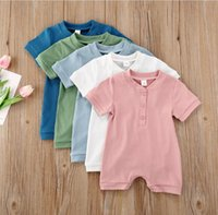 Baby Clothes Candy Color Newborn Boy Rompers Short Sleeve Infant Girl Jumpsuits Single Breasted Children Boutique Clothing 5 Colors BT6609