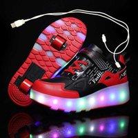 Due ruote luminose Sneakers Nero Rosso Led Roller Skate Scarpe da skate per bambini Scarpe LED per bambini Scarpe Ragazzi Ragazze Scarpe Light Up 28-43 x0719