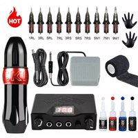 Complete Rotary Tattoo Machine Kit Swiss Motor Pen Permanent Makeup Sets with Cartridges Needles Power 210915