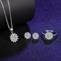 Oito corações e oito s platinum plated sunflower simulação de girassol Mossan Diamond abrindo anel mulheres colar brincos de pingente conjunto