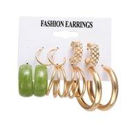 Retro Alloy Hoop Earrings Butterfly Snake-shaped Creative Simple Acrylic Earring Set 2021 Trending Jewelry 53674