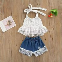 Summer Baby Kids Girl Clothes Suit Children Lace Sling Tos + Denin Short Pant Outfits Clothing Set Sets