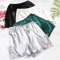 Women's Leggings Tracksuit Bottom Short Pants 2021 Plus Size Satin Silky Elastic Waist Women Men Home Sleep Nightwear