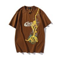 Travis Scott Catcus Jack Lightning Streetwear Cotton Tshirts Mens Short Sleeve Oversize Loose Casual Summer t Shirt