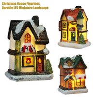 Strings Christmas House Decoration LED Night Light Snowy Cabin Micro-resin Landscape Ornaments Small Gifts