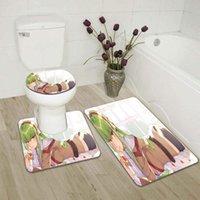 Anime 3D Print Bikini Girl Bath Mat Set Anti-Slip Carpet Doormat Bathroom Cover Toilet Seat Rug Accessories For Accessory