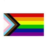 Direct Factory en gros double cousu 90x150cm 3x5 fts drapeau d'arc-en-ciel LGBT gay avec 2 paupières OOD5728