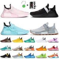 2021 Moda Moda Pharrell Mulheres Mens Correndo Tênis Corrida Rosa Preto Azul Treinadores Cinza Nerd Hu Trail Solar Pack Sneakers com Meias Tags