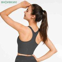 Shinbene Yutsuz Tereyelik Yumuşak Spor Yoga Kırpma Tankı Tops Kadınlar Racerback Yastıklı Egzersiz Egzersiz Spor Spor Bras Yelek