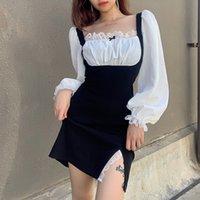 Robes décontractées y2k dentelle bow patchwork robe fendue sexy vintage 90s esthétique laitière milame coréenne coréenne femme kawaii mignonne vêtements iamty