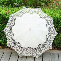 Fans & Parasols Lace Craft Umbrella Cotton Hook Flower Dance Pography Wedding Straight Wooden Handle Beige Parasol