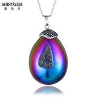 ShinyGem 2021 Natural Stone Rainbow / White Shell Collares irregular Druzy Fine único Polaco Polaco Sedimento Vintage para Mujeres