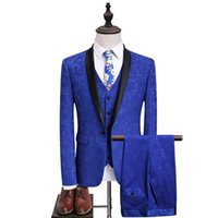 Men's Suits & Blazers Tuxedo Luxury Wedding Groom Vest Male Suit Jacquard 3Pieces Banquet Party Men Costume Slim Fit Royalblue Dress England