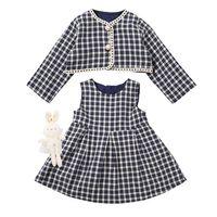 Girls Outfits Kids Clothing Sets Baby Clothes Children Suit Spring Autumn Plaid Jacket Coat Skirt Sleeveless Dress 2Pcs B8463