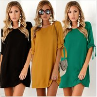 Lady's Dress Designer Autumn Fashion 2021 New Solid Color Round Neck with Bunched Sleeves 7 Colors 6 Sizes