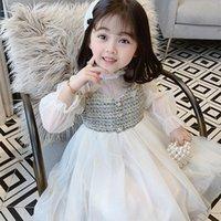 Девушка платья девушки платье дети детское вечеринка вечернее платье 2021 органза теплый плюс бархат сгущает зимняя осень принцесса с длинным рукавом детей CLO