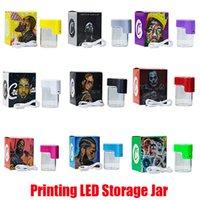 Hot-Druck-Zeichen LED-LED-Speicher-Kekse-Lupe-Vergrößerungs-Stash-Container 155ml MAG-Glas glühende Behälter-Vakuumflasche für trockene Kraut-Tabak-Gummies essbar