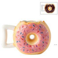 12Oz 2 Farben Keramik Donutform Kaffeetasse Brot Keks Milch Becher mit Griff Desktop Dekorative Trinkutensilien Handgemachte FWF8546
