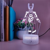 Loki 그림 3d 야간 조명 LED 침실 책상 램프 USB 야간 조명 터치 스위치 홈 파티 호텔 분위기 장식 블루투스베이스