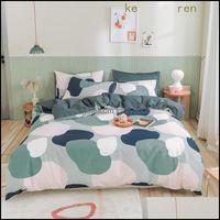 Supplies Textiles Home & Gardenbed Sheets And Pillowcases 100% Cotton Family 40S Quilt Er 220X240 Soft Duvet Queen Bedding Sets Drop Deliver