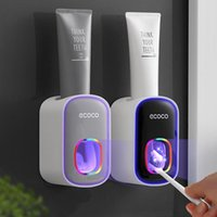 Toothbrush Holders GURET Automatic Toothpaste Squeezer Plastic Easy Dispenser Wall Mount Stand For Toilet Home Bathroom Accessories Sets