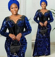 Sparkly Plus Size Arabic Aso Ebi Royal Blue Prom Dresses 2022 Lace Beaded Sheer Neck Evening Formal Party Second Reception Bridesmaid Gowns Dress