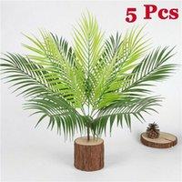 Decorative Flowers & Wreaths 9 Head Artificial Fern Bouquet Palm Leaves Green Plastic Plants Home Party Decor -5PCS