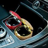 Cinzeiro do carro com incrustação de cristal, atmosfera elegante cinzeiro montado em veículos com indicador de luz LED, aço inoxidável, acessórios para carros.